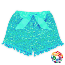 New Style Baby Pom Pom Sequin Shorts Bulk Sequins Shorts For Children Boutique Toddler Sequin Shorts