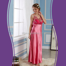 OEM wholesale women sexy elegant long transparent satin nightgowns