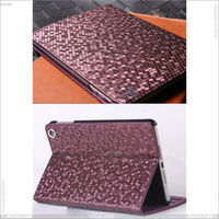 Diamond grain Hand Made stand pu leather case for iPad Mini 2 case