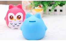 Plastic Money Box Cute Cartoon Owl Shape Home Decorative Saving Pot Children