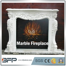 Freestanding White Marble Fireplace Decoration