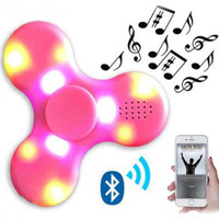 high quality Promotion hand spinner + Bluetooth Speaker LED light flash toy cube led fidget