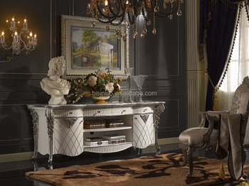 A Fine Louis XVI Style Wooden TV Cabinet, Silver and White Luxury Living Room Furniture