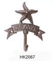 Iron Starfish Welcome Hook Coat Hooks Hat Hook Nautical Decor Wall Decor Blue
