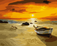Chinese high quality wholesale handmade Sunset beach DIY oil painting