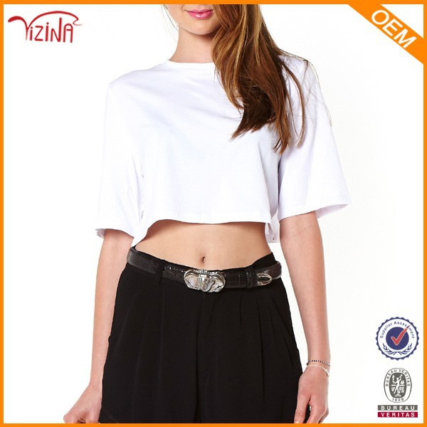 Wholesale plain white crop top,custom made clothing manufacturers