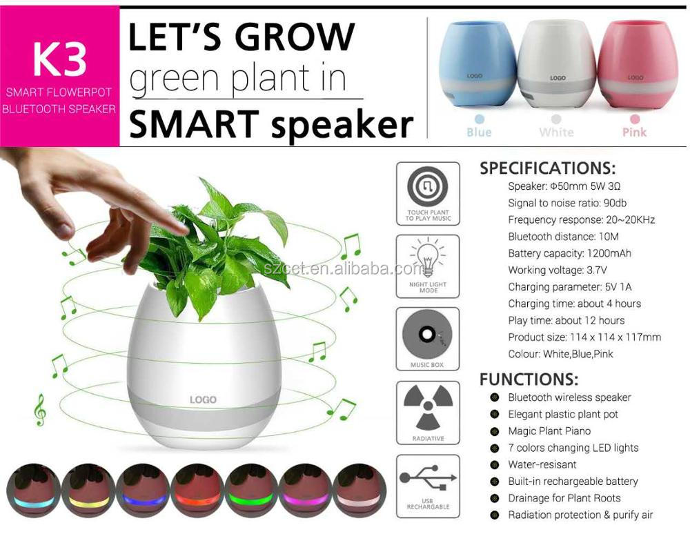 Popular Bluetooth Speaker In Flower Pots Mini Smart Music Flowerpot With Colorful LED Lights