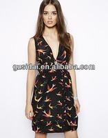 new arrival high fashionable fancy vintage bird print summer sleeveless women sexy prompt party dress