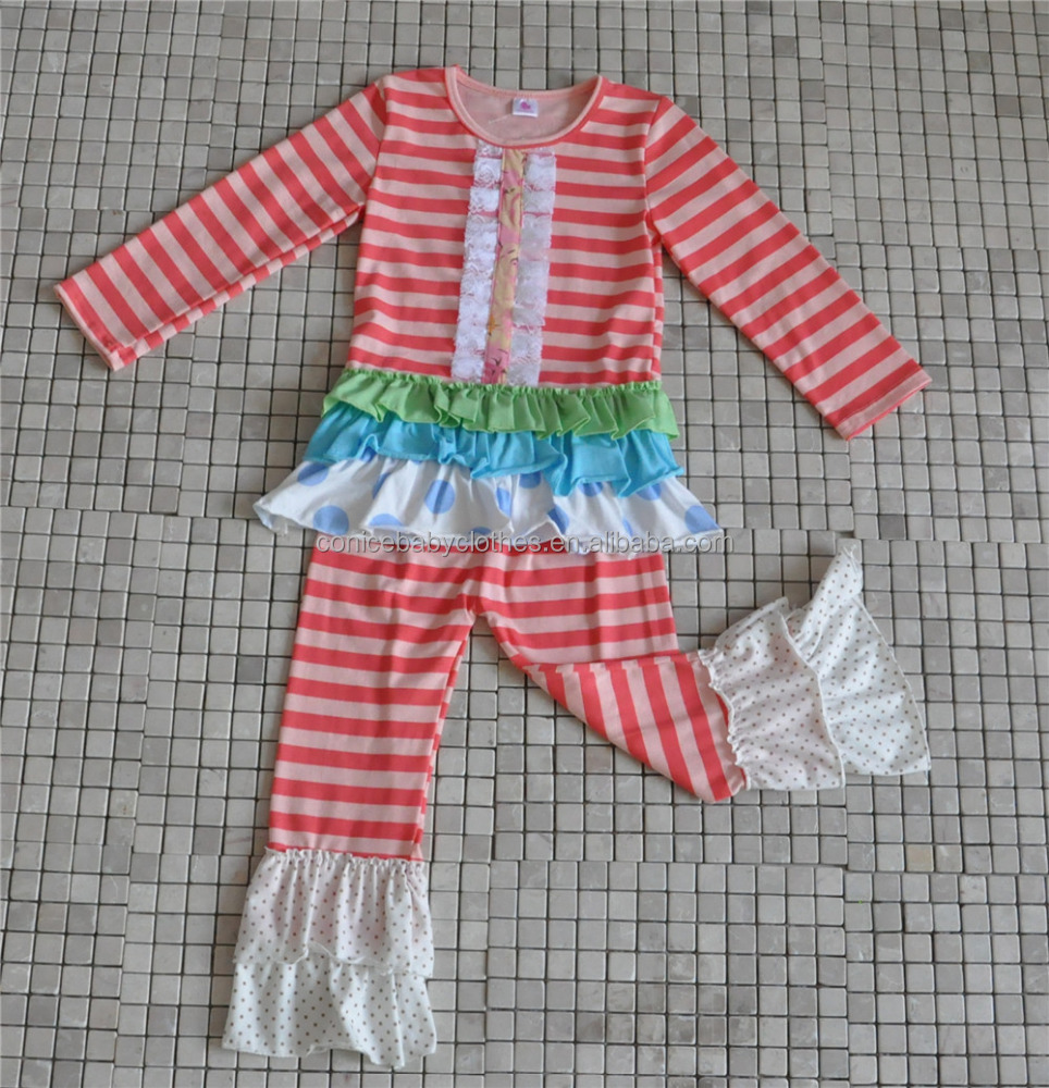 bulk wholesale toodler girl stripes ruffle christmas clothes from yiwu market