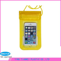 Velcro waterproof zipper new item fashion yellow pvc waterproof pouch dry bag phone case