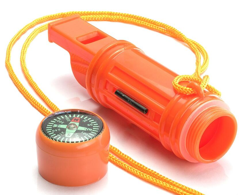 5 in 1 Survival Whistle in orange color for camping