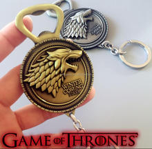 Wholesale Movie Series Game of thrones Keychain House Stark Key Chain with bottle opener Song Of Ice And Fire Key Rings For Gift