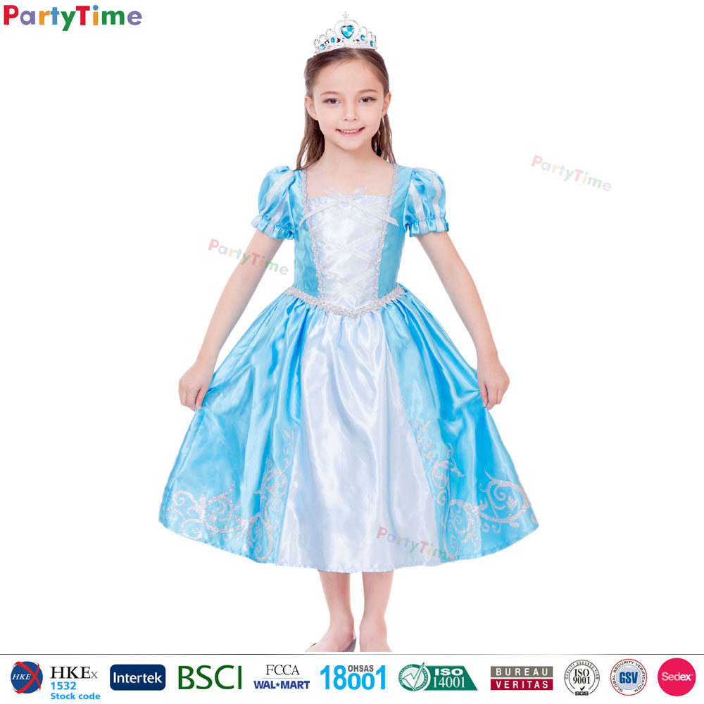 2017 girl party wear blue royal princess dress kids clothes modern girls dresses carnival costume princess dress S M XL Size