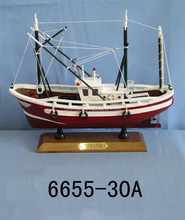 Wooden Fishing Shrimp/Crab boat model with sail, Red 32x10x30cm, 3 masts Fishing ship model ,hand made vessel replic boat model