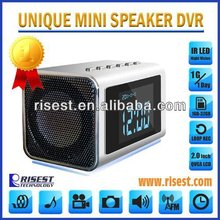 Home Security Mini Speaker Spi Camera Module with Night Vision+ MP3+ MP4+ Clock+ FM Radio