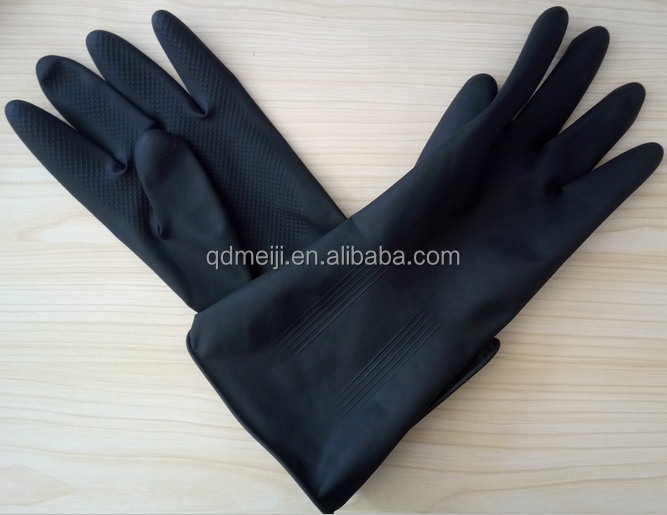 Industrial black latex rubber glove acid proof alkali safety working rubber glove