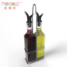 Royal Oil and Vinegar Bottle Set with Stainless Steel Rack and Removable Cork Dual 17oz Olive Oil Spout Dispenser Bottle Set