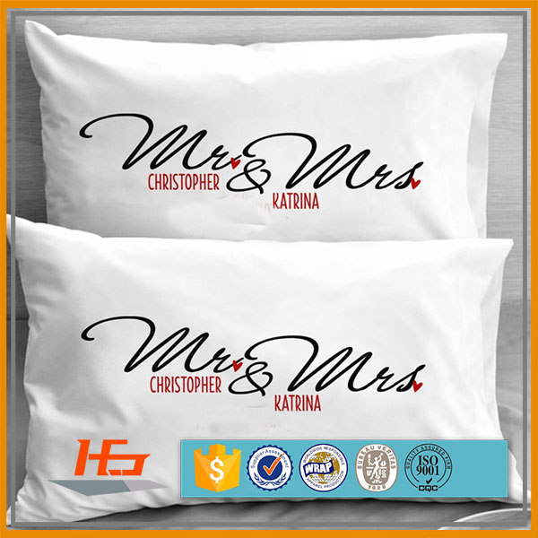 High quality cheap price couple theme custom pillow case/printed pillow cover