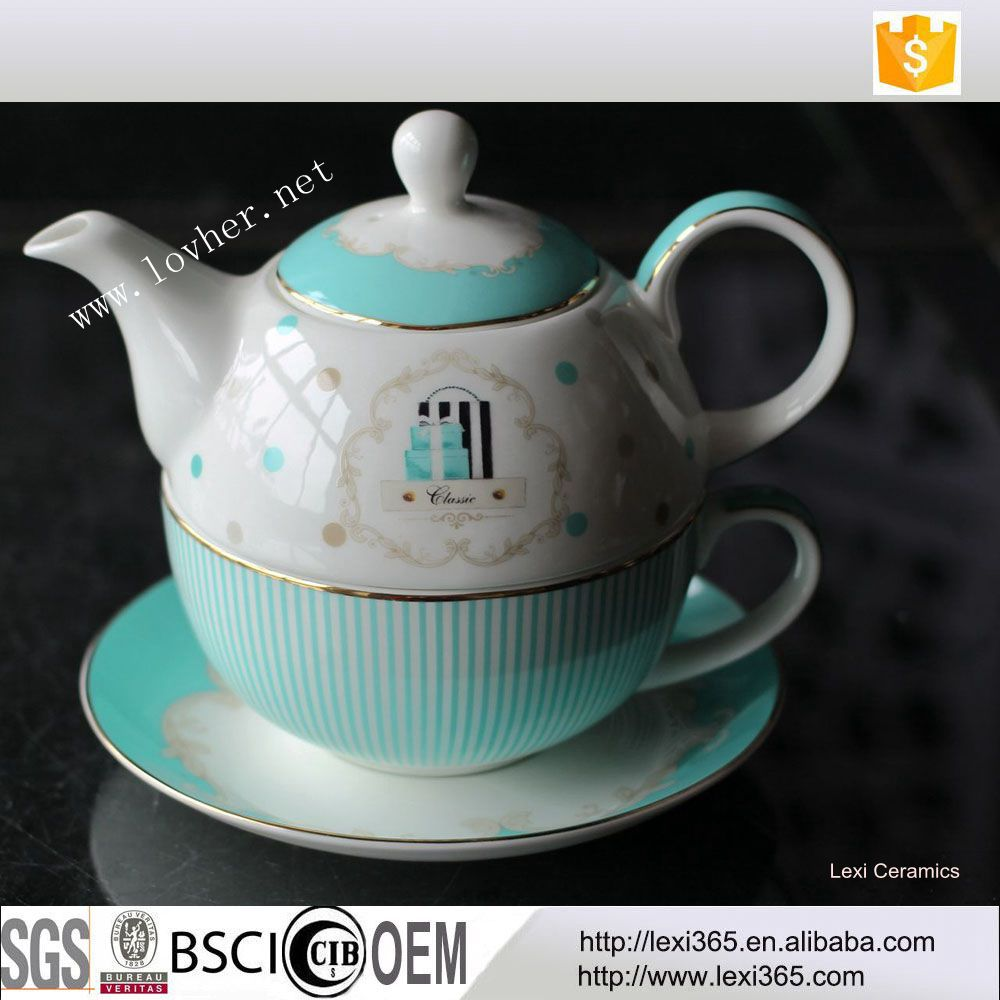 Tea cup pot in one person new bone porcelain tea coffee set with saucer factory directly made in china