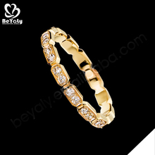 Custom simple design cz plated gold fashion jewelry