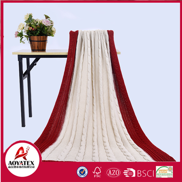 Luxury promotion bedding 100% acrylic knitted mohair throw blanket