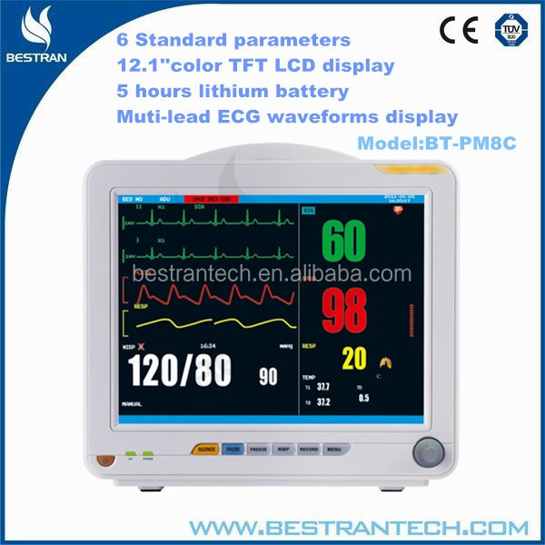 BT-PM8C 12.1''6 Standard parameters 5hrs battery cost of multi para patient monitor manufacturers