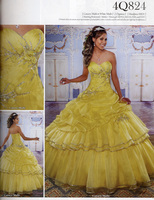 Top Quality Custom Made Yellow Organza Beaded Ball Gowns Quinceanera Dresses