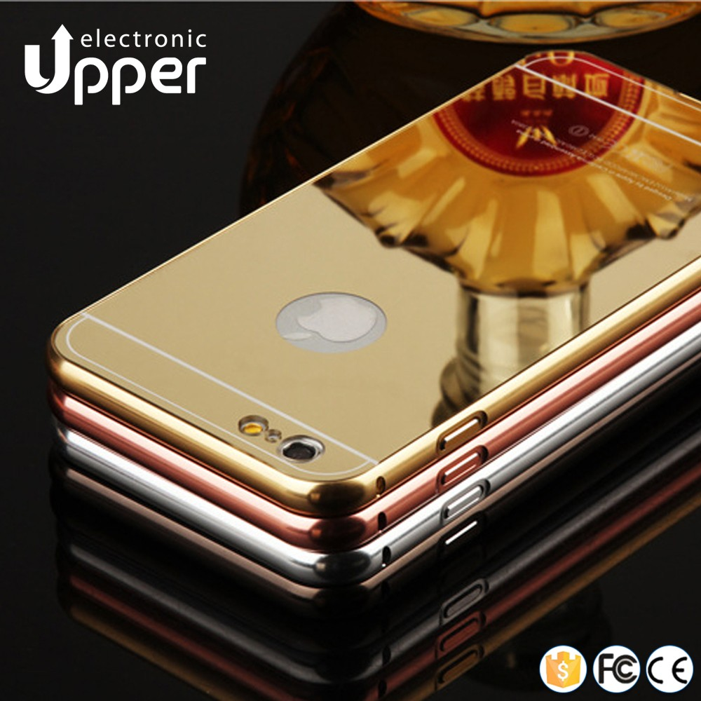 Shockproof metal aluminum+PC bumper mobile phone case mirror back cover for iphone 4 4s 5 5s 6 6s plus