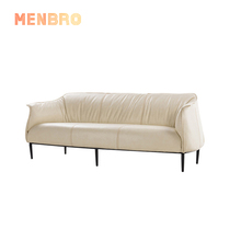 Wholesale white Nordic Mid century metal frame leather home <strong>furniture</strong> couch living room 3 seat sofas