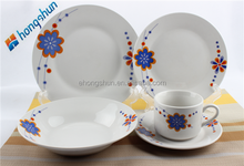 factory direct supply fine porcelain 30pcs round shape dinner set with flower design