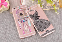 Embossed Printing Transparent TPU Silicone Wedding Dress Mobile Phone Case for iphone 6 Cell Phone Cover