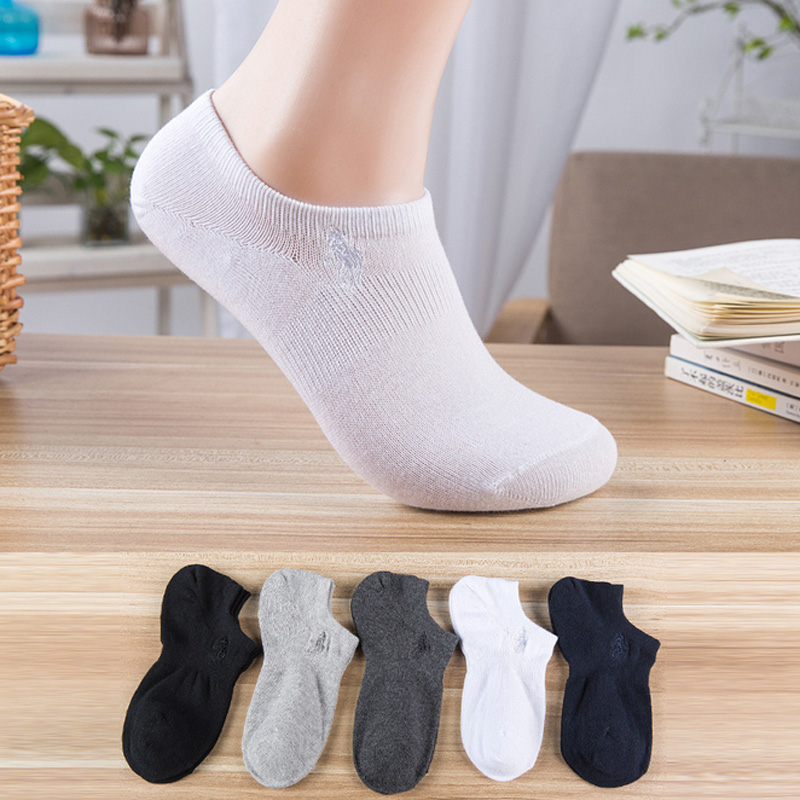 Bonypony Men's ComfortBlend Ankle Socks Summer Shallow Mouth Low Cotton Socks Breathable Solid Short Tube Sock Wholesale