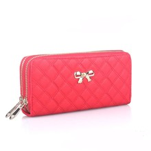 carteras de mujer Lady Elegant Fashion Bowknot Handbags Double Zipper Money Clip Card Holder Women Leather Clutch Purse <strong>Wallet</strong>