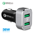 Quick Charge 3.0 USB Car Charger,[Qualcomm Certified]36W QC 3.0 Ultra Slim 2-Port Car Charger for Samsung S7/S6/S6,Note/5/4/3