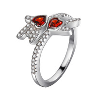 Charm White Gold Jewelry Rock Heart Shape Design Ruby Wedding Silver Finger Ring Gemstone Accessories
