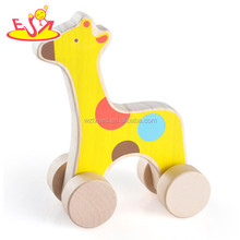 wholesale hot sale kids wooden Lion shape toy animal children toys animal mini car for sale W04A226