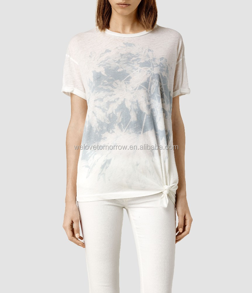 Short sleeve ladies tops screen print on a pale blue jersey viscose for women tops