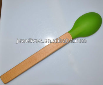 Eco-friendly wooden handle household small baby silicone spoon