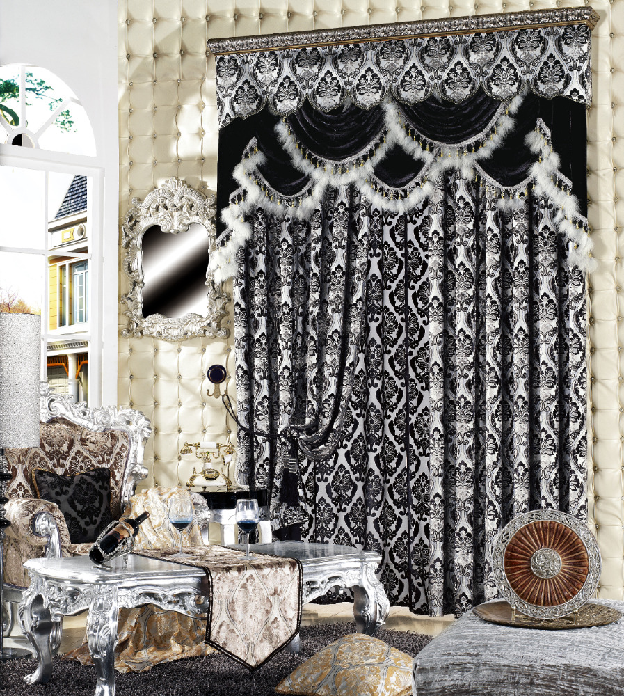 High quality popular fashion jacquard europe style window curtains