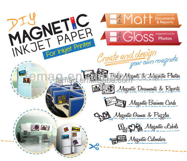 2015 DIY High quality DIY A4 magnetic inkjet paper
