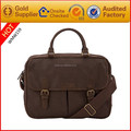 Factory Price Genuine Leather Briefcase Laptop Bags with long shoulder strap For Men