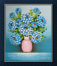blue flower with vase decoration painting framed Technique thick Palette Knife Flower Oil Painting On Canvas 55357