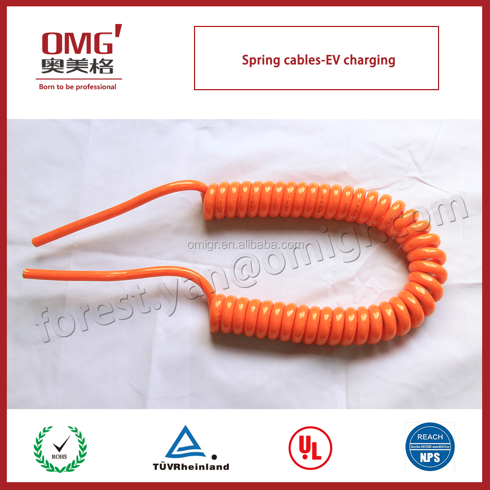 spring cable being high flexible for Electric vehicle power charging connection
