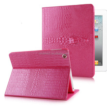 Hot pink Fashion 3D crocodile pattern smart stand tablet leather case for ipad mini 2 3, for ipad mini 2 smart cover