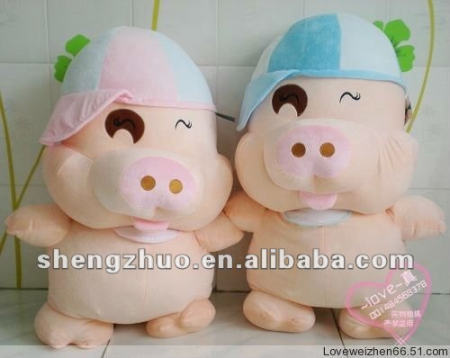 cute plush and stuffed mcdull pig with cap