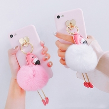 best selling products 2017 in usa Flamingo Furry Ball Pendant alibaba best sellers mobile phone cases for iphone 8