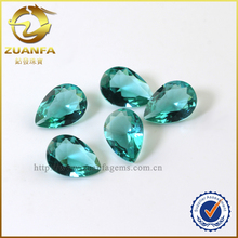 China stone market high quality pear cut glass crystal decorative stones, green precious stone