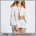 High Quality Wholesale Patchwork Design White Slash Neck Flare Long Sleeve Off the Shoulder Tassel Loose Beach Female Tops
