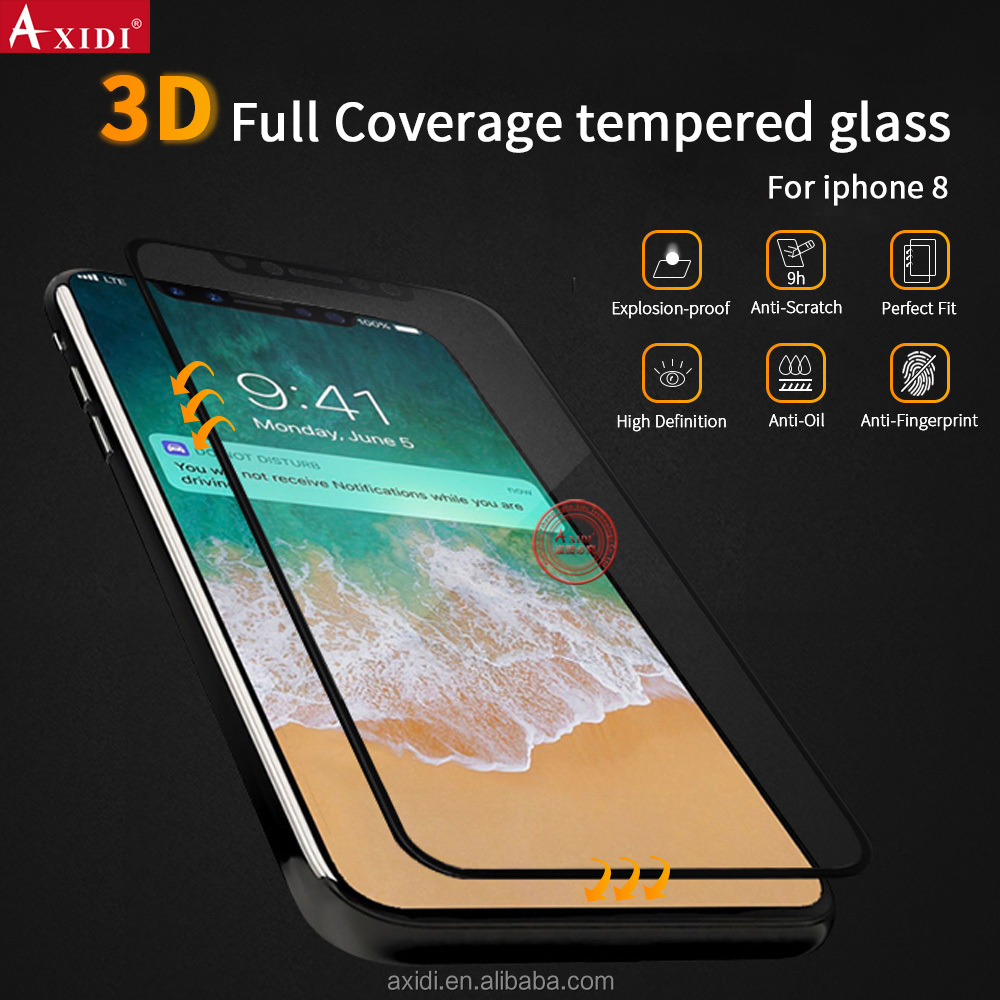 Premium 3D Customized Mobile Tempered Glass Screen Guard for Iphone 8