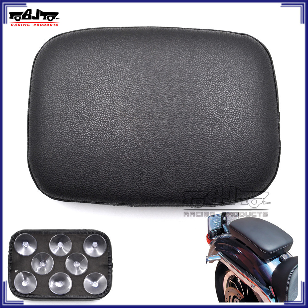 BJ-SC02-883B Motorcycle Rear Passenger Pillion Pad Seat 8 Suction Cup for Harley Chopper Cruiser